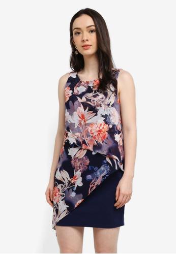 Wallis navy Petite Navy Floral Print Overlay Dress 0D123AAFB6CF6FGS_1