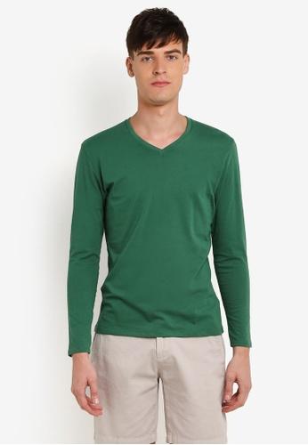 Electro Denim Lab green Cotton V-Neck Tee EL966AA0RWIXMY_1