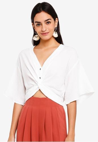 TOPSHOP white Twist Front Crop Shirt AA177AA11A1905GS_1