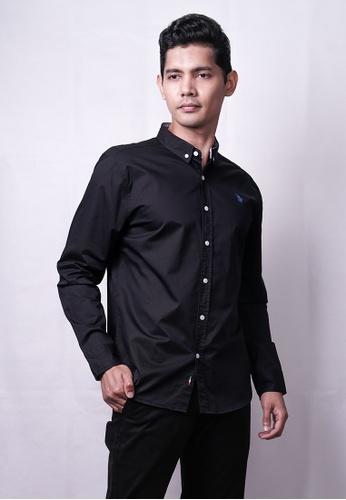 MILANO black Milano Men Plain Woven L/Sleeve Shirt 6F8D4AA54FC347GS_1