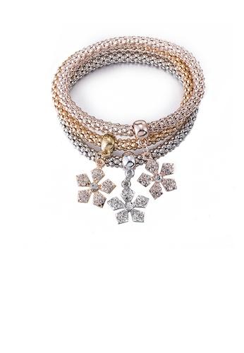 Glamorousky white Fashion Elegant Flower Cubic Zircon Tri-Color Bracelet 667CCAC500DF81GS_1