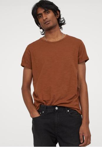 H&M brown Regular fit T-shirt A62BEAA8073F07GS_1