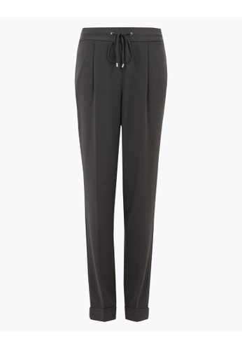 MARKS & SPENCER grey M&S Drawstring Tapered Ankle Grazer Trousers 38F6EAA82F093AGS_1