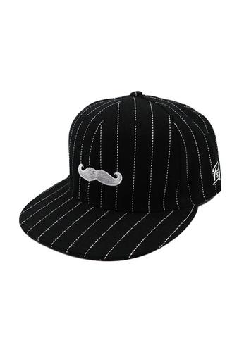 Private Stitch black Private Stitch Snapback Cap With Embroidery Moustache 1B9B6AC7207F01GS_1