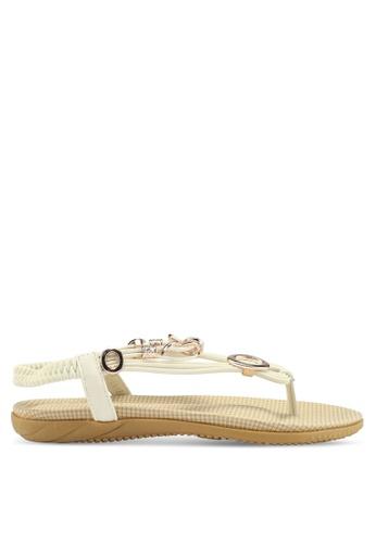 Mimosa 白色 金屬飾夾腳涼鞋 MI013SH75RJKSG_1
