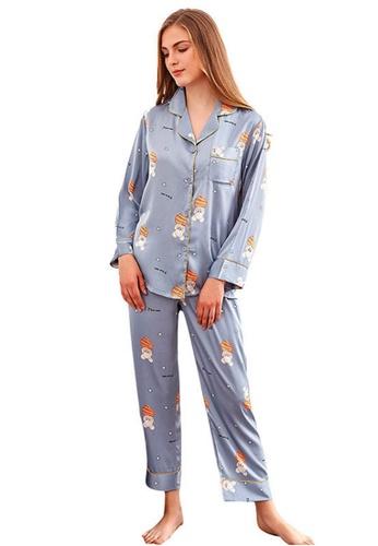 LYCKA 藍色 LCB8025-女士居家休閒睡衣兩件套-藍色 92F1EAAAE42A03GS_1