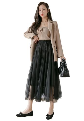 Halo black Layered Lace Net Yarn Skirt E724EAAFC9E2D3GS_1