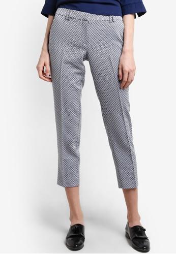 Dorothy Perkins navy Diamond Textured Ankle Grazer Pants DO816AA05GXUMY_1
