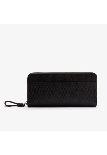 Lacoste black Women's Chantaco Matte Pique Leather Zip Wallet-NF3219CE 4080AAC37D65CFGS_1