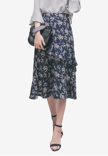 YOCO multi and navy Floral Print Ruffle Skirt C2449AAB1C0C91GS_1