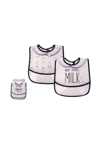 Little Kooma black and white Luvable Friends Peva Waterproof Bibs 2 Pcs Pack 01093 Milk E5535KC5B9F910GS_1