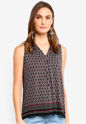 Max Studio red and multi Prited Rayon Span Jersey Sleeveless Top 94A8BAAA31D043GS_1