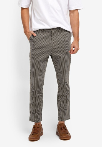 ZALORA brown Striped Casual Trousers 2A543AAFFC8346GS_1
