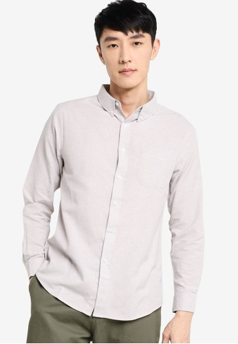 ZALORA BASICS grey Regular Fit Button Down Oxford Shirt EC1AEAA7A1BBECGS_1