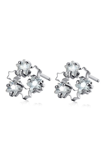 LYCKA silver LFF5219-LYCKA-S925 Siliver White Zircon Pentagram Earrings-Silver E200BACBDE9E1EGS_1