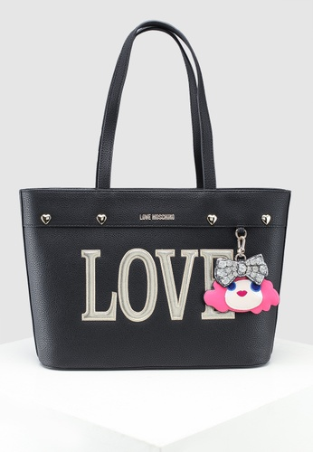 b33899f3f523 Shop Love Moschino Pebble Grain Tote Bag Online on ZALORA Philippines