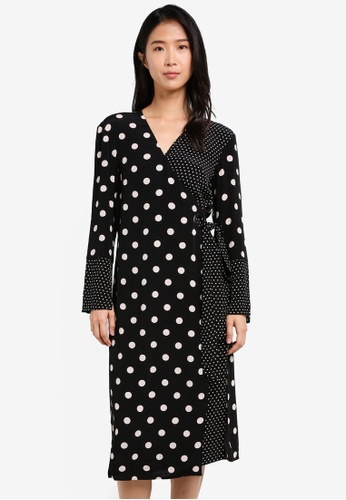 TOPSHOP black Spot Eyelet Wrap Dress TO412AA0SD6EMY_1