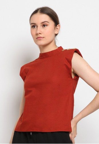 The Executive orange Padded Shoulder Top CA299AAD3E7D62GS_1