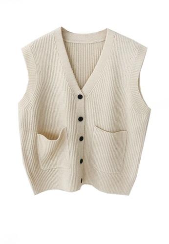 Twenty Eight Shoes white VANSA Knitted Vest Jacket  VCW-V15856258 AF9E9AAEB9FAEFGS_1