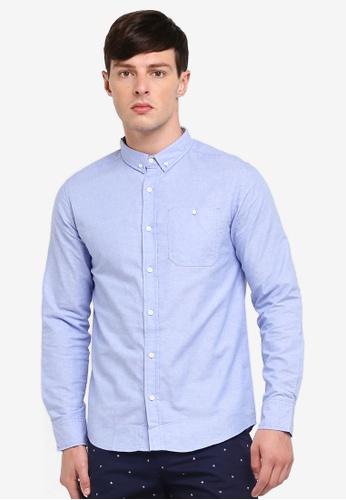 Penshoppe 藍色 長袖牛津襯衫 5787FAA71CCD4AGS_1