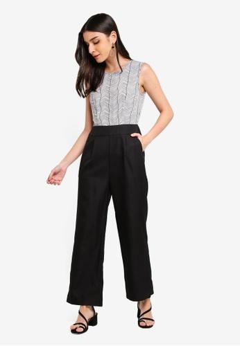 ZALORA 黑色 and 白色 Sleeveless Wide Leg Jumpsuit ED334AA41ADB87GS_1