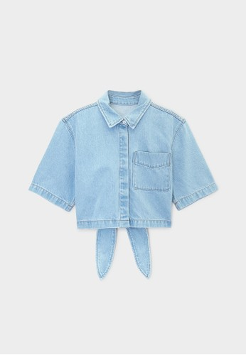 Pomelo blue Sustainable Open Tied Back Crop Denim Shirt - Light Blue ED4EBAAD14BCCEGS_1