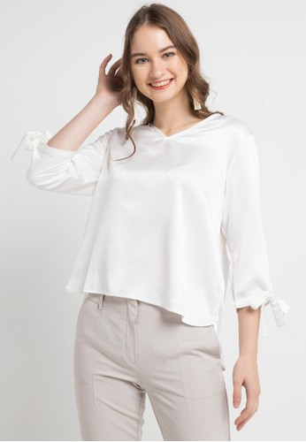 EDITION white Sleeve Bow Blouse 80FC3AA4C75D47GS_1