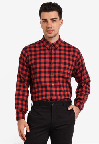 Kent & Crew 海軍藍色 Slim Fit Long Sleeve Shirt KE579AA0RJRQMY_1