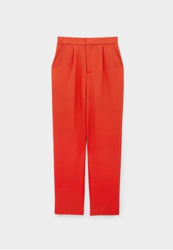 Pomelo red Elastic Waist Cigarette Pants - Red 9EC01AA40D5F48GS_1