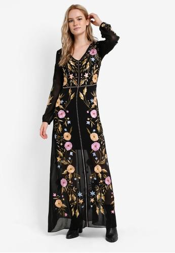 Buy Miss Selfridge Premium Bella Embroidered Maxi Dress | ZALORA HK