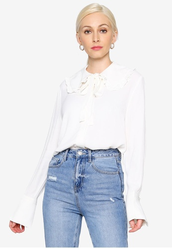 Hopeshow white Tie Ribbon Collar Chiffon Blouse with Flare Cuff 7F734AAF150844GS_1
