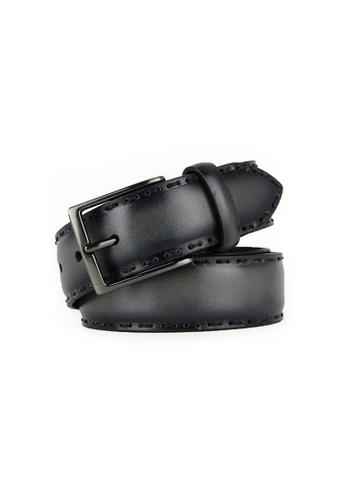 Barnns grey Barnns Rustic Hand Stitched Calf Leather Belt in Grey 82FE5ACB0F8135GS_1