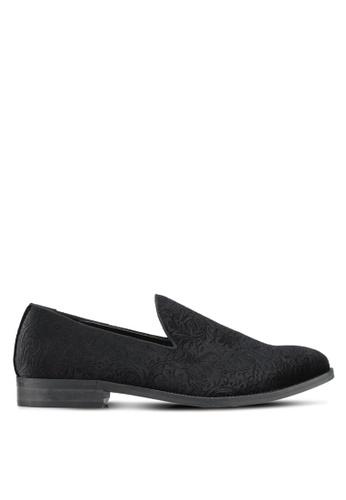 TOPMAN black Black Velvet Embossed Loafers TO413SH0SHQKMY_1