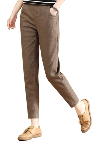 A-IN GIRLS brown Elastic Waist Warm Casual Pants (Plus Cashmere) 573C6AABD096DDGS_1
