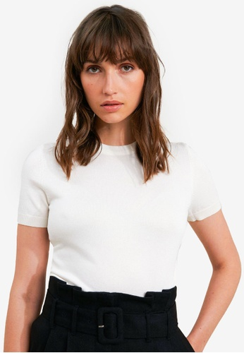 FORCAST white Catherine Short Sleeve Knit Top 2F350AA1C0D09BGS_1