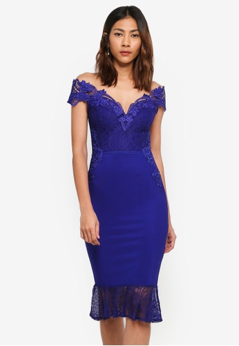 Lipsy blue Cobalt Lace Flippy Hem Bardot Dress 0429AAADC96631GS_1