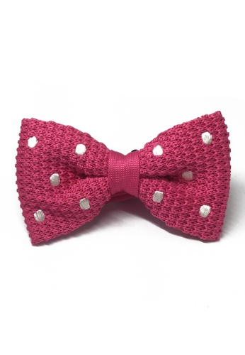 Splice Cufflinks pink Webbed Series White Polka Dots Bright Pink Knitted Bow Tie SP744AC15UAISG_1