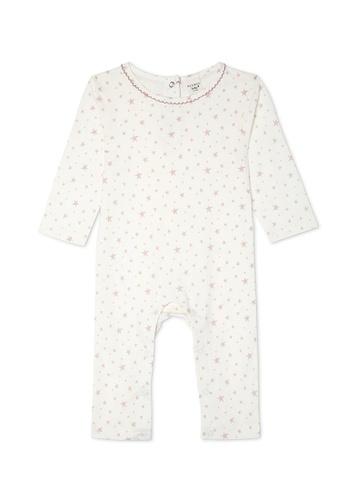 Gen Woo beige Star Print Babygrow FB219KAD960F9FGS_1