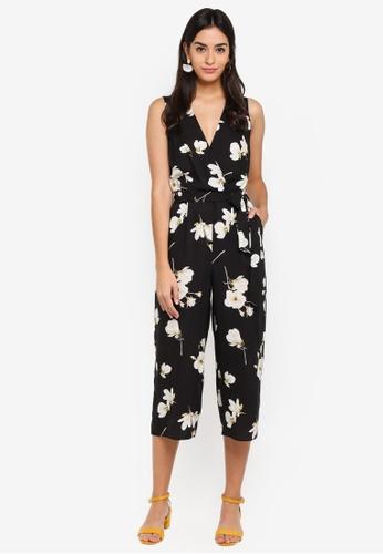 Dorothy Perkins black Floral Wrap Jumpsuit ED4F9AA7918801GS_1