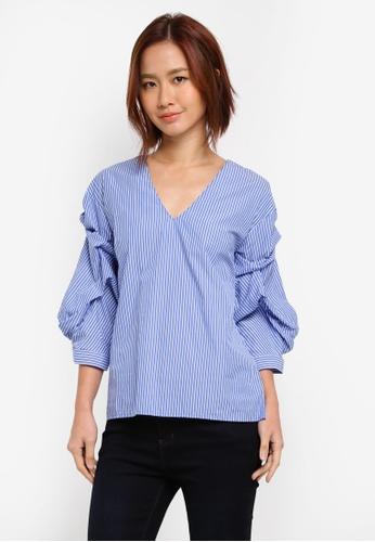 WAREHOUSE blue Stripe Tuck Sleeve Top 5ECC5AA1AA5D82GS_1