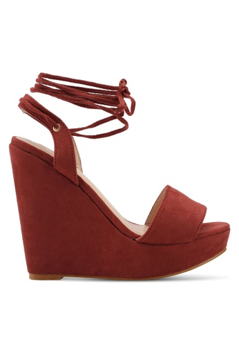 Something Borrowed red Lace up Wedges 2A9D1SH3AD7F7EGS_1