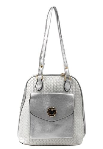 Vintage Paris silver Vintage Paris Mikee Shoulder Bag/Backpack (Silver) VI567AC67GQMPH_1