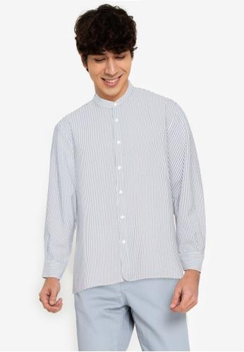 ZALORA BASICS multi Boxy Curve Hem Collarless Shirt F64D7AA36153D4GS_1