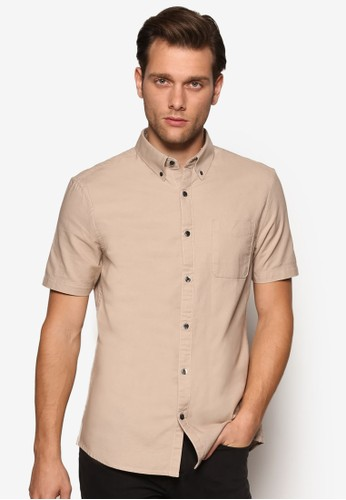 口袋素色牛津短袖襯衫、 服飾、 襯衫BurtonMenswearLondon口袋素色牛津短袖襯衫最新折價
