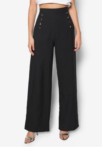 高腰排鈕寬管長褲, 服飾, 長zalora 評價褲及內搭褲