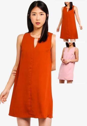 86100ac0de6fe9 Buy ZALORA BASICS 2 pack Basic Neck Details Shift Dress Online on ZALORA  Singapore