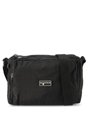 Bagstationz black Crinkled Nylon Multi-Compartment Sling Bag 69219AC35D1A22GS_1