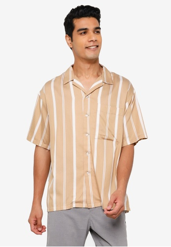 RAGEBLUE brown Casual Stripe Shirt 52903AA3C2B134GS_1