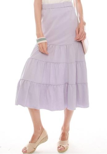 JOVET purple Tiered Skirt 87153AA47747B9GS_1