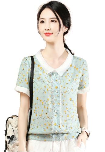 A-IN GIRLS green Doll Collar Floral Chiffon Blouse C2ECDAA5DF3852GS_1